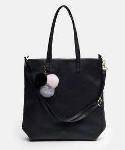 Sinsay - Geantă shopper cu breloc - Negru