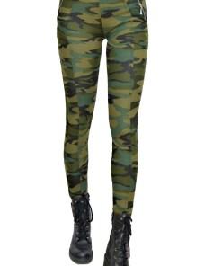 Colanti Army kaki, croiala skinny, imprimeu de camuflaj captusiti (Selecteaza Marime: 42)