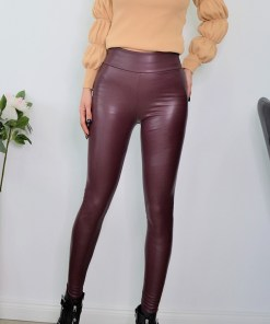 Colanti Desire din piele ecologica, burgundy (Selecteaza Marime: XXL)