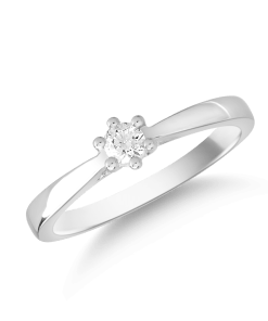 Inel logodna din aur alb de 18K cu diamant de 0.15ct 16313