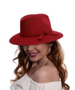 Palarie Cowboy, din lana si bentita cu funda, rosie (Pentru: Fete)