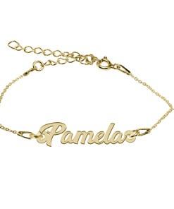 Bratara Argint Placata cu Aur 18 karate, Nume Pamela, 15 + 4 cm