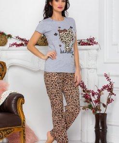 Pijama Kitty cu tricou gri si pantaloni animal print