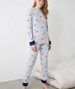 Pijama cu imprimeu si mansete plusate 3391349