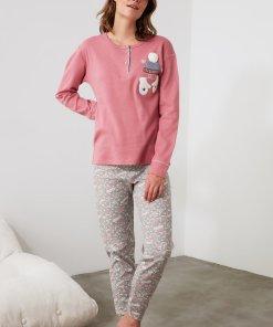 Pijama cu imprimeu si detalii brodate 3241093