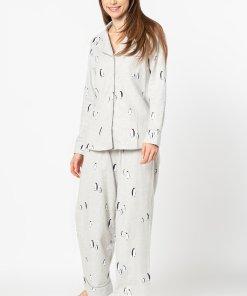 Pijama cu imprimeu si revere decupate 3294632