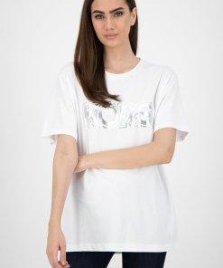 Tricou supradimensionat cu imprimeu logo metalizat 3134609