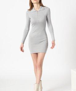 Rochie tip pulover cu guler ascutit si striatii 3367472