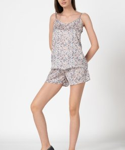 Pijama din bumbac cu imprimeu floral 2775553