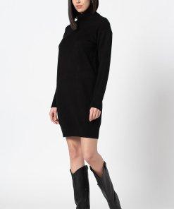 Rochie mini tricotata cu guler inalt 3406561
