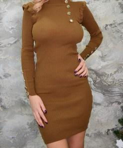 Rochie din tricot Alice, maro (Culoare: Maro, Selecteaza Marime: Universala)