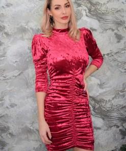 Rochie eleganta Dolce, umeri bufanti, rosie (Selecteaza Marime: Universala)