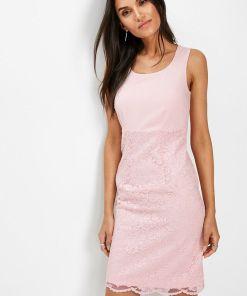 Rochie etui cu dantelă - roz