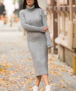 Rochie tricotata Diane, cu guler si maneci lungi, gri (Selecteaza Marime: Universala)