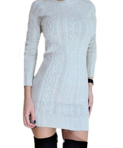 Rochie tricotata Lorelai, crem (Selecteaza Marime: Universala)
