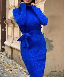 Rochie tricotata Sara, cu guler si maneci lungi, albastra (Selecteaza Marime: Universala)