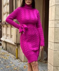 Rochie tricotata Sara, cu guler si maneci lungi, fucsia (Selecteaza Marime: Universala)