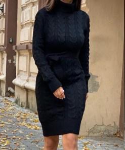 Rochie tricotata Sara, cu guler si maneci lungi, negru (Selecteaza Marime: Universala)