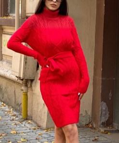 Rochie tricotata Sara, cu guler si maneci lungi, rosu (Selecteaza Marime: Universala)