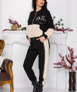 Trening PS Fashion negru cu insertii din blanita ecologica