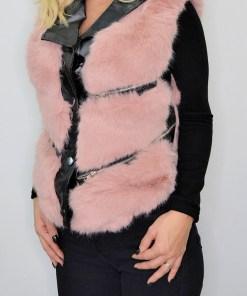 Vesta din blana cu insertii de piele ecologica rose (Selecteaza Marime: S)