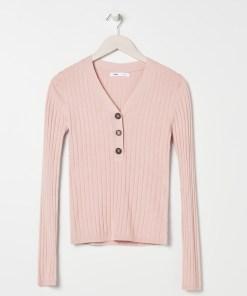Sinsay - Pulover din tricot striat, cu nasturi - Roz