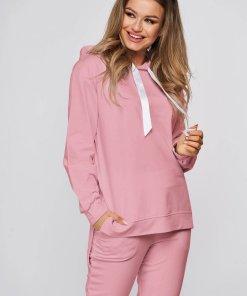 Trening SunShine roz din doua piese din bumbac cu pantaloni si croi larg