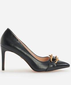 Reserved - Pantofi cu toc înalt și cataramă decorativă - Negru