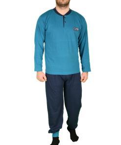 Pijama turcoaz special star pentru barbat - cod 41585