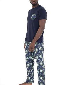 Pijama cu imprimeu tropical si buzunar pe piept 3467906