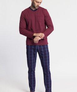 Pijama din bumbac cu fenta cu nasturi Fred 3457799
