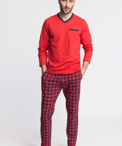 Pijama cu decolteu in V - model in carouri si buzunar pe piept Nature 3457795
