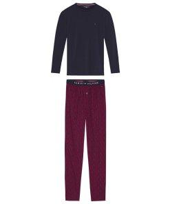 Pijama din amestec de bumbac organic cu pantaloni cu imprimeu 3416838