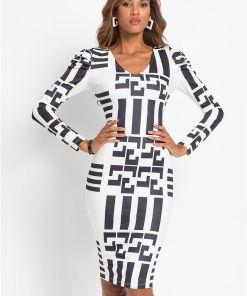 Rochie cu model grafic - negru