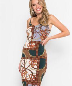 Rochie cu print clasic - maro