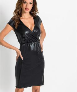 Rochie din imitație de piele - negru