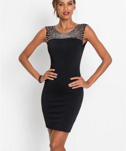 Rochie midi cu aplicații - negru