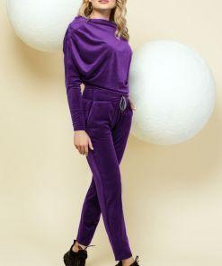 Trening violet din catifea cu maneca tip liliac