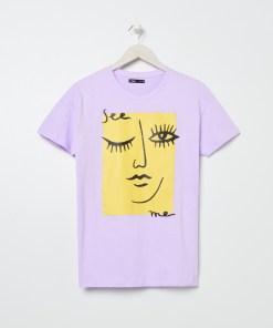 Sinsay - Tricou oversized cu imprimeu - Violet