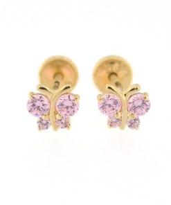 Cercei copii - Fluturasi cu 4 pietricele roz din aur galben