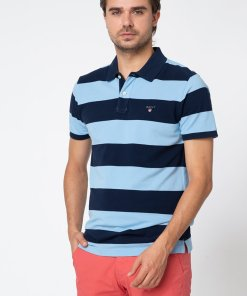 Tricou polo din material pique cu model in dungi 2856561