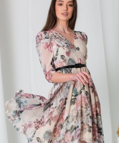 Rochie Any ivory din voal cu imprimeuri florale pastelate