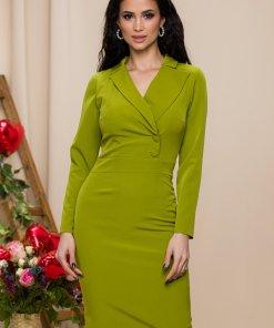 Rochie Moze verde lime cu design tip sacou