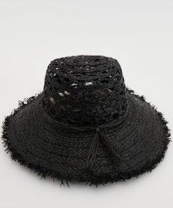 Reserved - Pălărie cu circumferință zdrențuită - Negru
