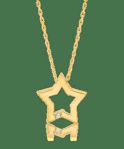 Lant cu pandant steluta din aur galben de 14K 19190