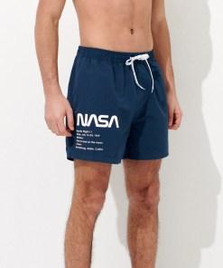 House - Pantaloni scurți cu imprimeu NASA - Bleumarin