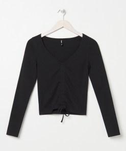Sinsay - Tricou cu mânecă lungă și tiv ripsat - Negru