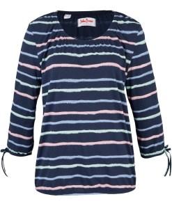 Bluză din bumbac cu mâneci 3/4 - albastru