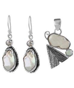 Set argint Naya cu perla baroca