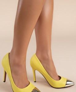Pantofi stiletto Delusion V1 Galbeni